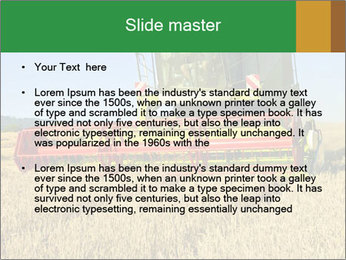 Combine harvester at work PowerPoint Template - Slide 2