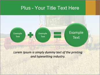 Combine harvester at work PowerPoint Template - Slide 75