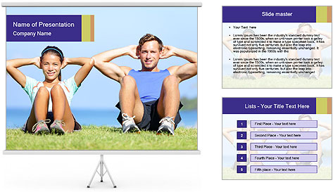Fitness couple PowerPoint Template