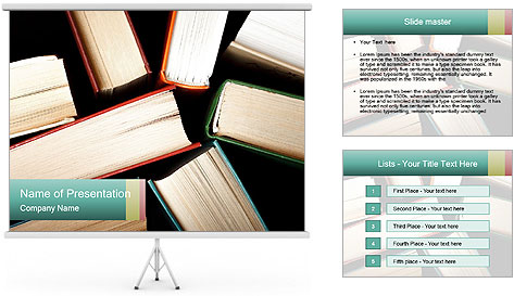 Old and used hardback books PowerPoint Template