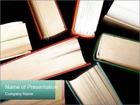 Old and used hardback books PowerPoint Templates
