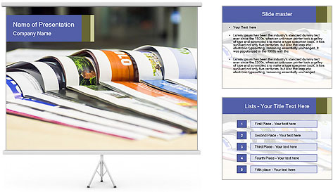 Magazine spread in the office PowerPoint Template