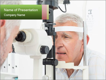 Close-up of an optometrist PowerPoint Template - Slide 1