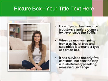 Attractive woman using digital tablet on sofa PowerPoint Template - Slide 13