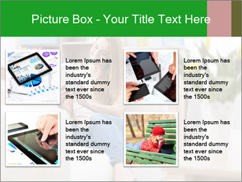 Attractive woman using digital tablet on sofa PowerPoint Template - Slide 14