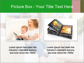 Attractive woman using digital tablet on sofa PowerPoint Template - Slide 18