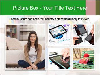 Attractive woman using digital tablet on sofa PowerPoint Template - Slide 19