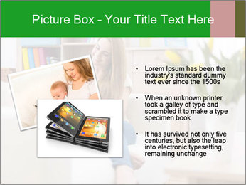 Attractive woman using digital tablet on sofa PowerPoint Template - Slide 20