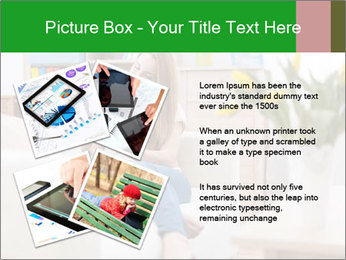 Attractive woman using digital tablet on sofa PowerPoint Template - Slide 23