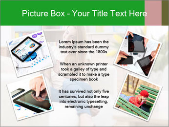 Attractive woman using digital tablet on sofa PowerPoint Template - Slide 24