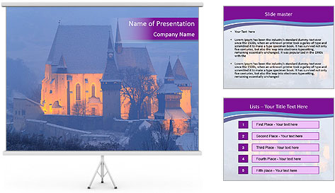 Fortified medieval church in Transylvania PowerPoint Template
