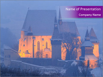 Fortified medieval church in Transylvania PowerPoint Template - Slide 1