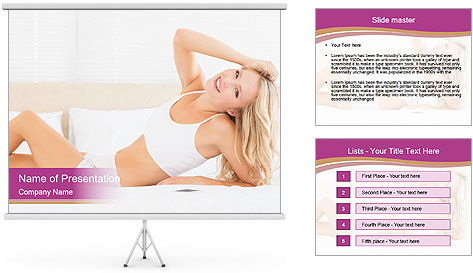Pretty blonde woman lying on bed PowerPoint Template