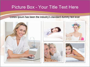 Pretty blonde woman lying on bed PowerPoint Template - Slide 19