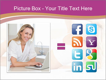 Pretty blonde woman lying on bed PowerPoint Template - Slide 21