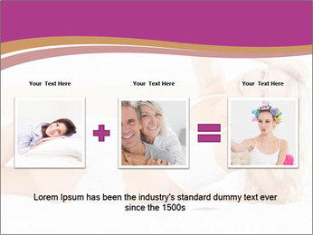 Pretty blonde woman lying on bed PowerPoint Template - Slide 22