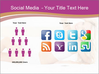 Pretty blonde woman lying on bed PowerPoint Templates - Slide 5