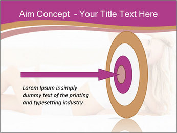 Pretty blonde woman lying on bed PowerPoint Template - Slide 83
