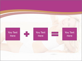 Pretty blonde woman lying on bed PowerPoint Template - Slide 95