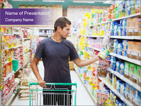 Man in supermarket PowerPoint Template