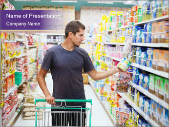 Man in supermarket PowerPoint Template - Slide 1