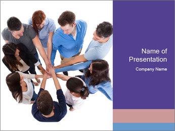 High angle view of people stacking hands PowerPoint Template - Slide 1