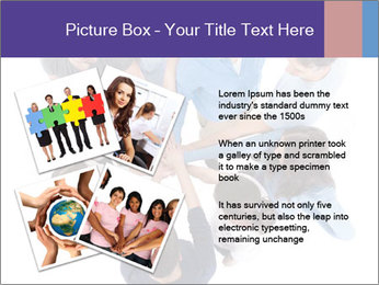 High angle view of people stacking hands PowerPoint Template - Slide 23