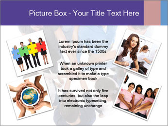 High angle view of people stacking hands PowerPoint Template - Slide 24