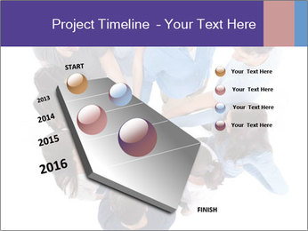 High angle view of people stacking hands PowerPoint Template - Slide 26