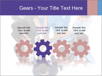 High angle view of people stacking hands PowerPoint Template - Slide 48