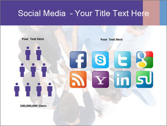 High angle view of people stacking hands PowerPoint Template - Slide 5