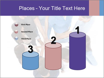 High angle view of people stacking hands PowerPoint Template - Slide 65