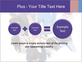 High angle view of people stacking hands PowerPoint Template - Slide 75
