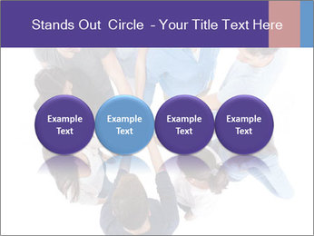 High angle view of people stacking hands PowerPoint Template - Slide 76