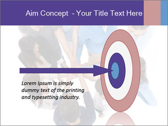 High angle view of people stacking hands PowerPoint Template - Slide 83