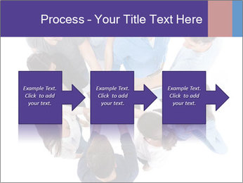 High angle view of people stacking hands PowerPoint Template - Slide 88
