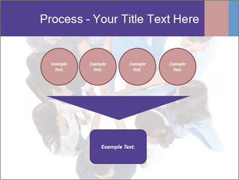 High angle view of people stacking hands PowerPoint Template - Slide 93