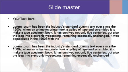 High angle view of people stacking hands PowerPoint Template - Slide 2