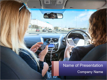 Two Women Driving Car PowerPoint Template - Slide 1