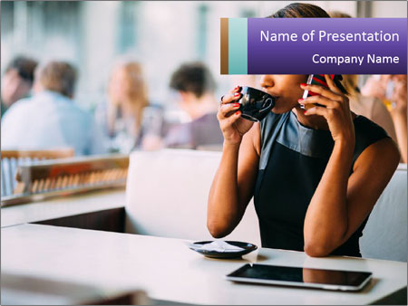 Woman Drinking Coffee In Cafe PowerPoint Templates