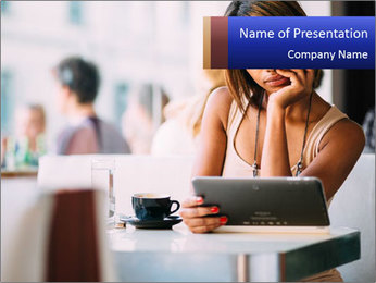 Woman Reading In Cafe PowerPoint Template - Slide 1