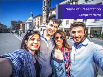 Friends Take Selfie Photo PowerPoint Templates - Slide 1