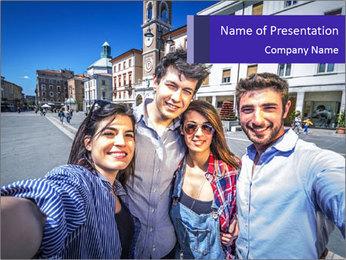 Friends Take Selfie Photo PowerPoint Template - Slide 1