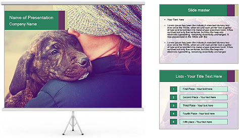 A girl holding a pit bull PowerPoint Template