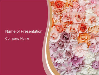 Colorful flowers paper PowerPoint Template