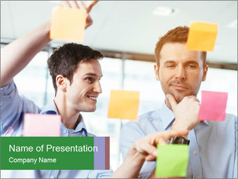 Young professionals discussing ideas PowerPoint Template