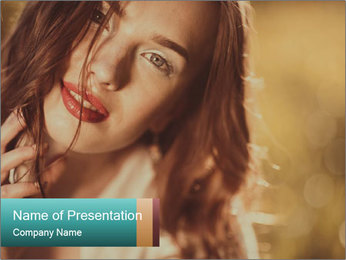 Beautiful girl smiling PowerPoint Template - Slide 1