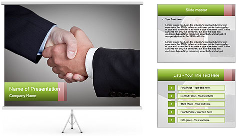 Two Businessman shake their hands PowerPoint Template