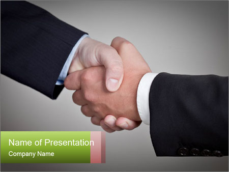 Two Businessman shake their hands PowerPoint Templates