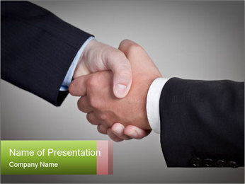 Two Businessman shake their hands PowerPoint Template - Slide 1